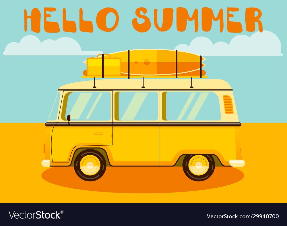 Travel car hello summer vacation trip retro