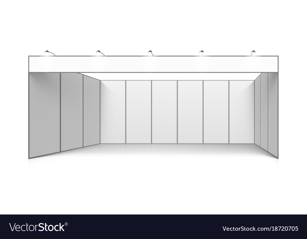 Exhibition Stand White : Blank white trade exhibition booth system stand vector image