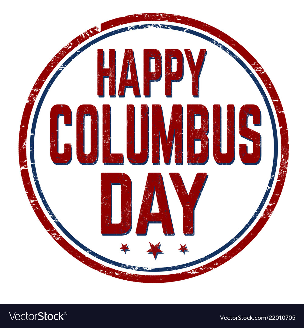 Columbus day sign or stamp