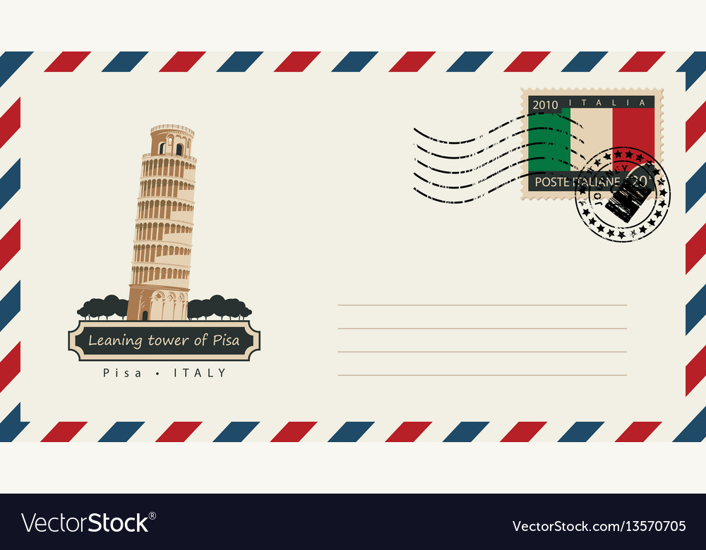 Envelope with a postage stamp with pisa tower