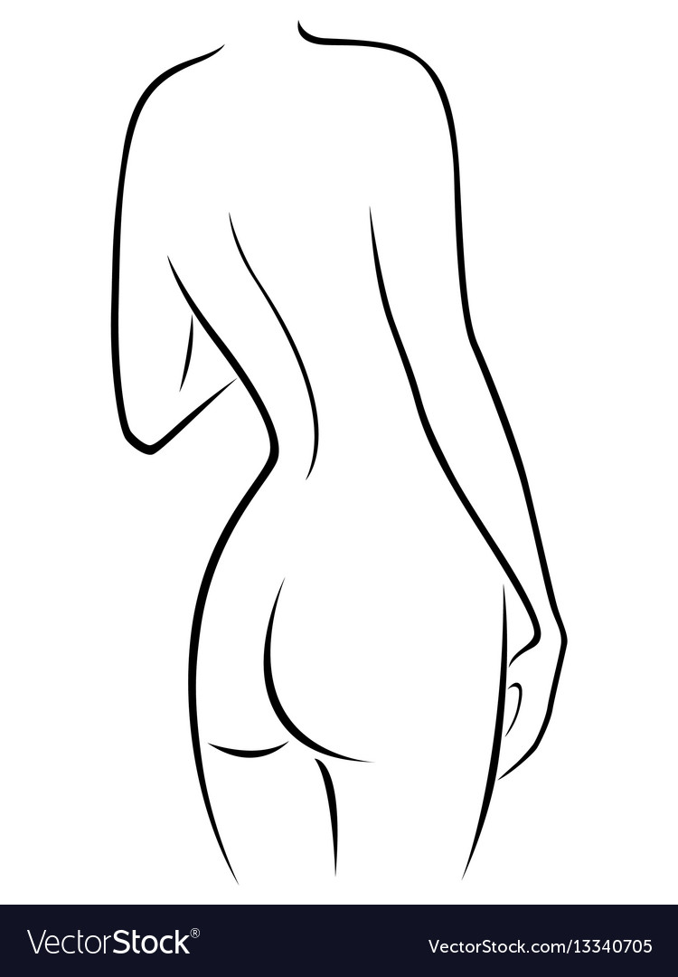 Graceful female figure with a view from the back vector image