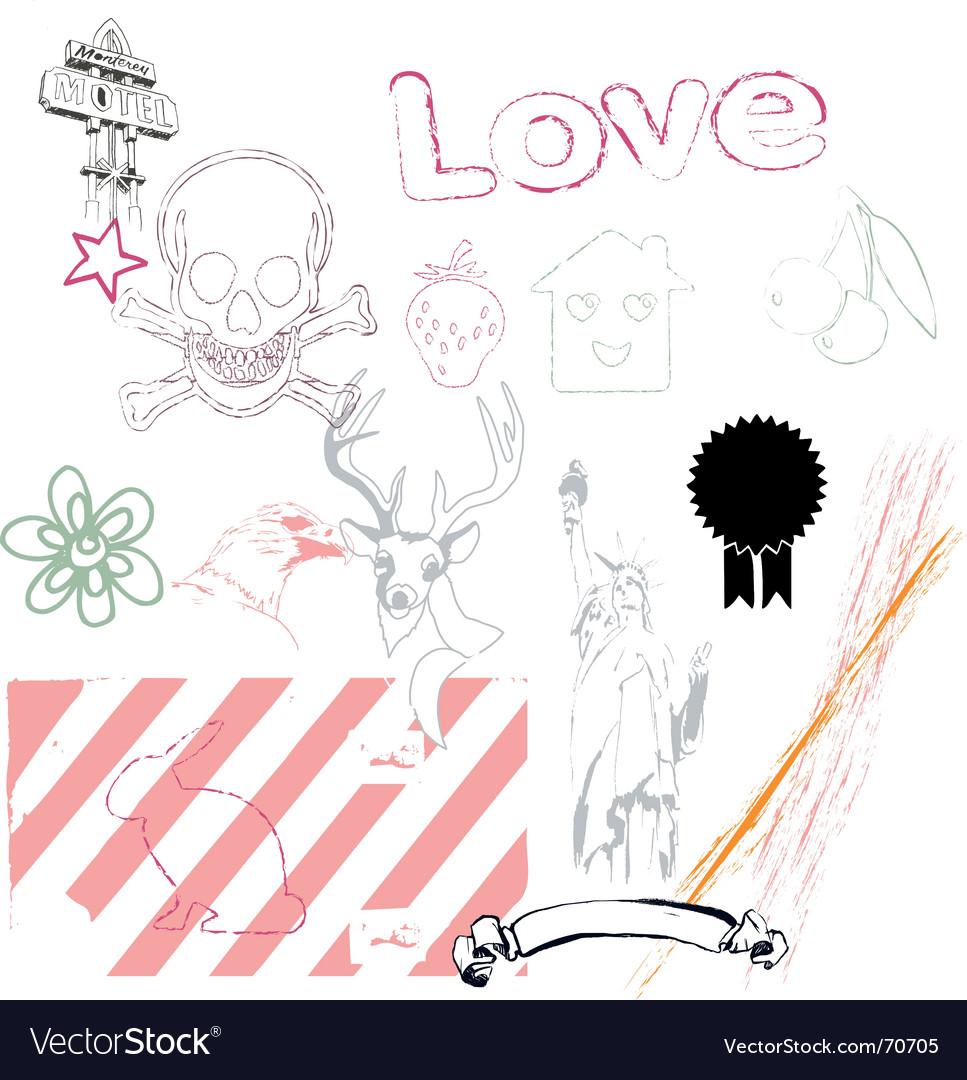 Grunge icon and logo set vector image