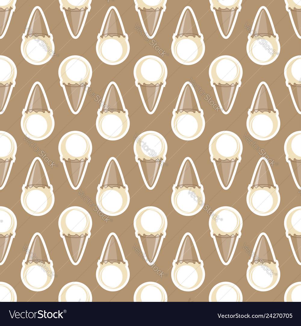 Ice cream choco cone beige white seamless pattern
