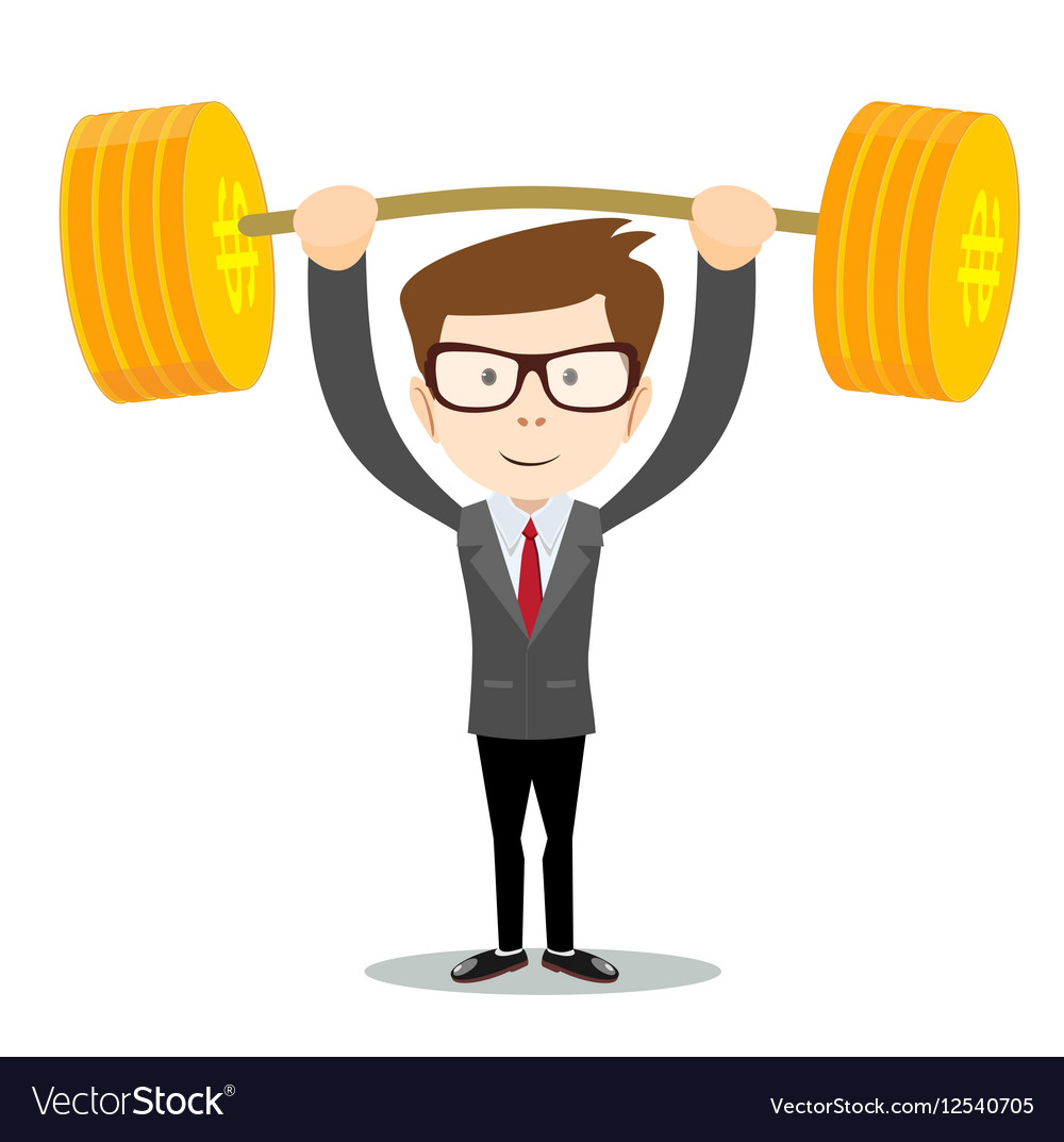 Man lifts up heavy barbell with dollar sign