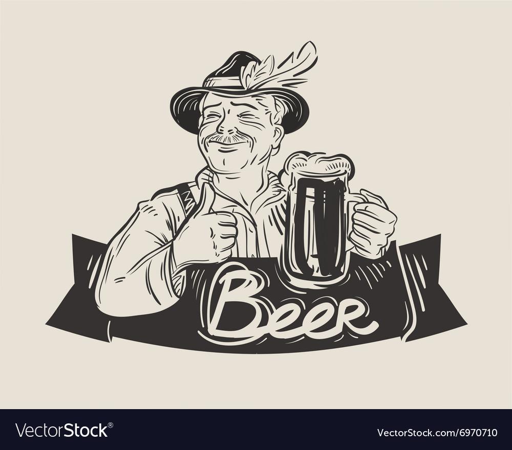 Beer ale logo design template Oktoberfest