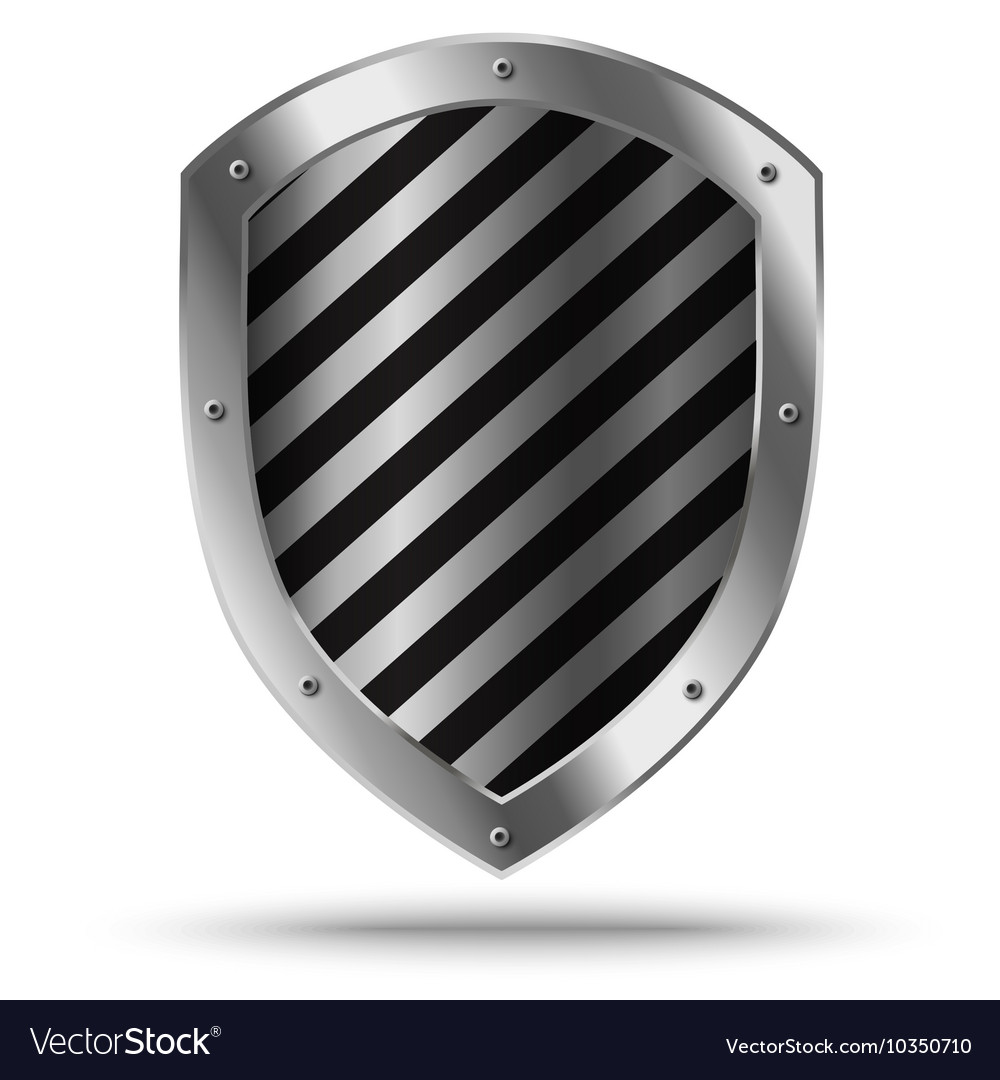 Classic silver shield Protection sign vector image