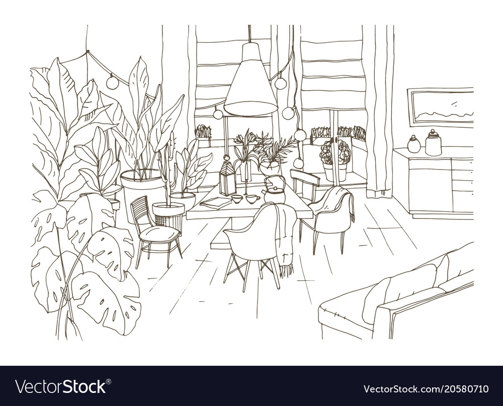Contour Drawing Of Cozy Dining Or Living Room Vector Image