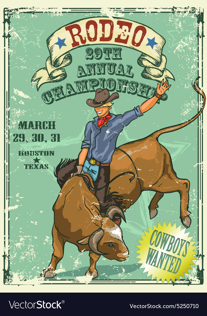 Rodeo Cowboy riding a bull Retro style Poster
