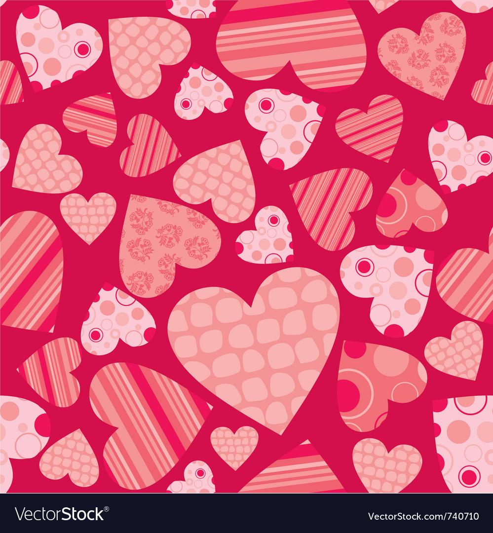 Seamless valentine pattern vector image