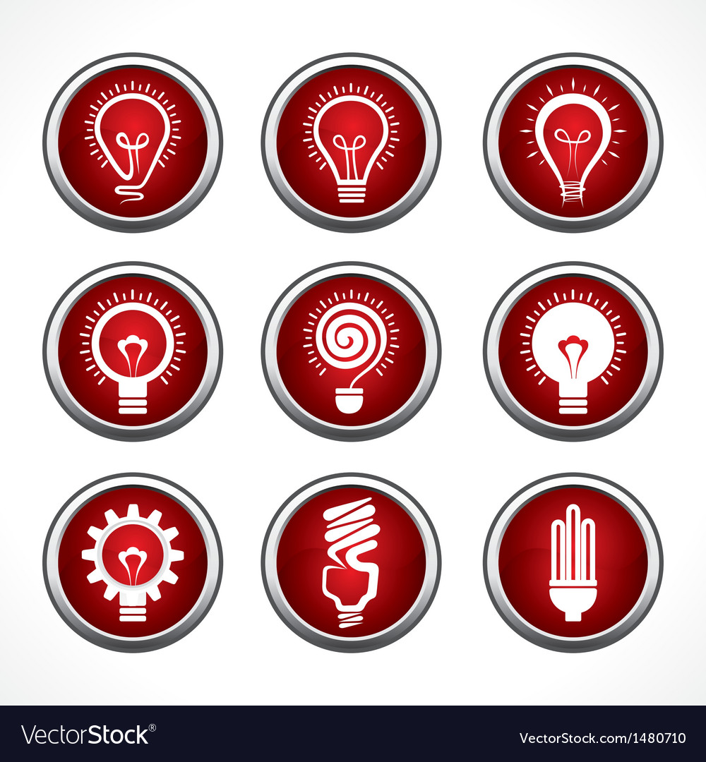 Set of electric bulb symbols and icons vector image