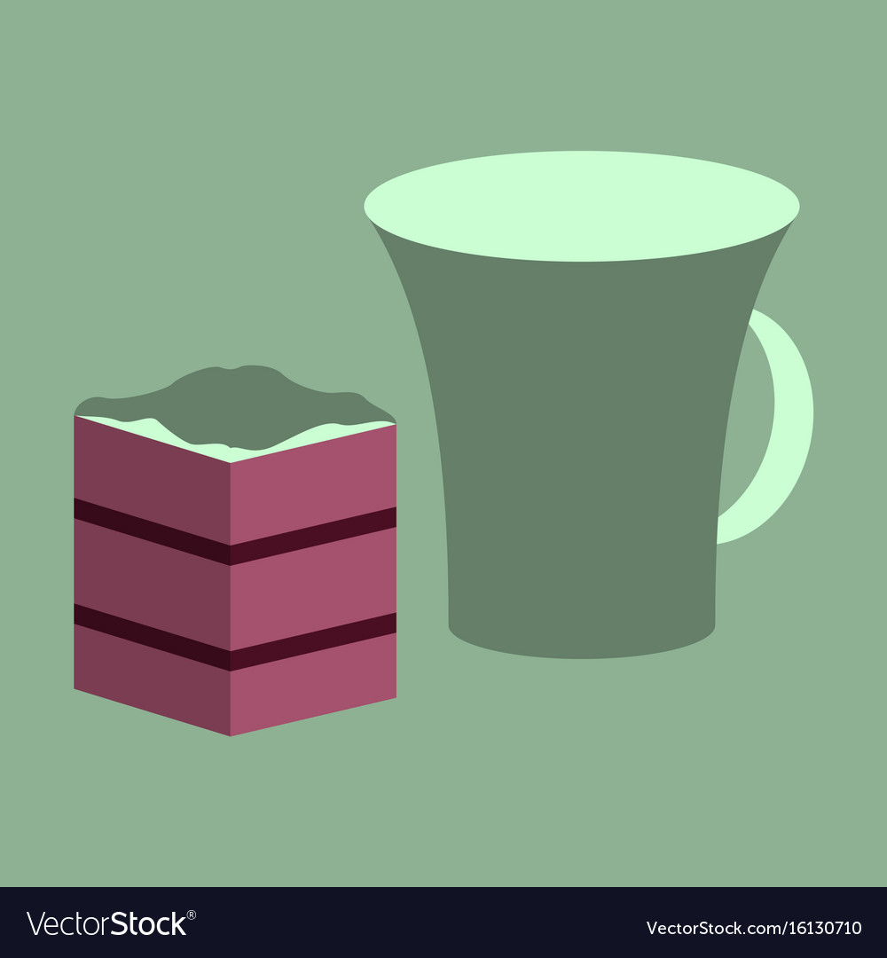 Sweet dessert in flat design cup of coffee and pie vector image