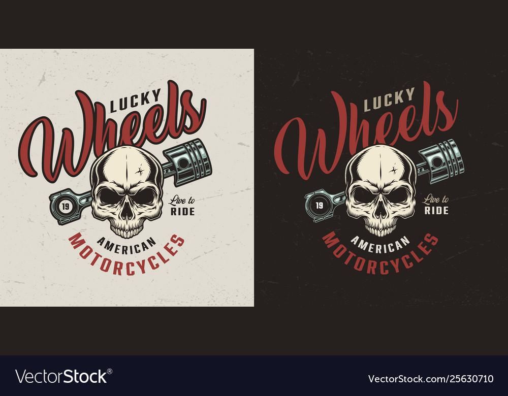 Vintage motorcycle repair service colorful badge