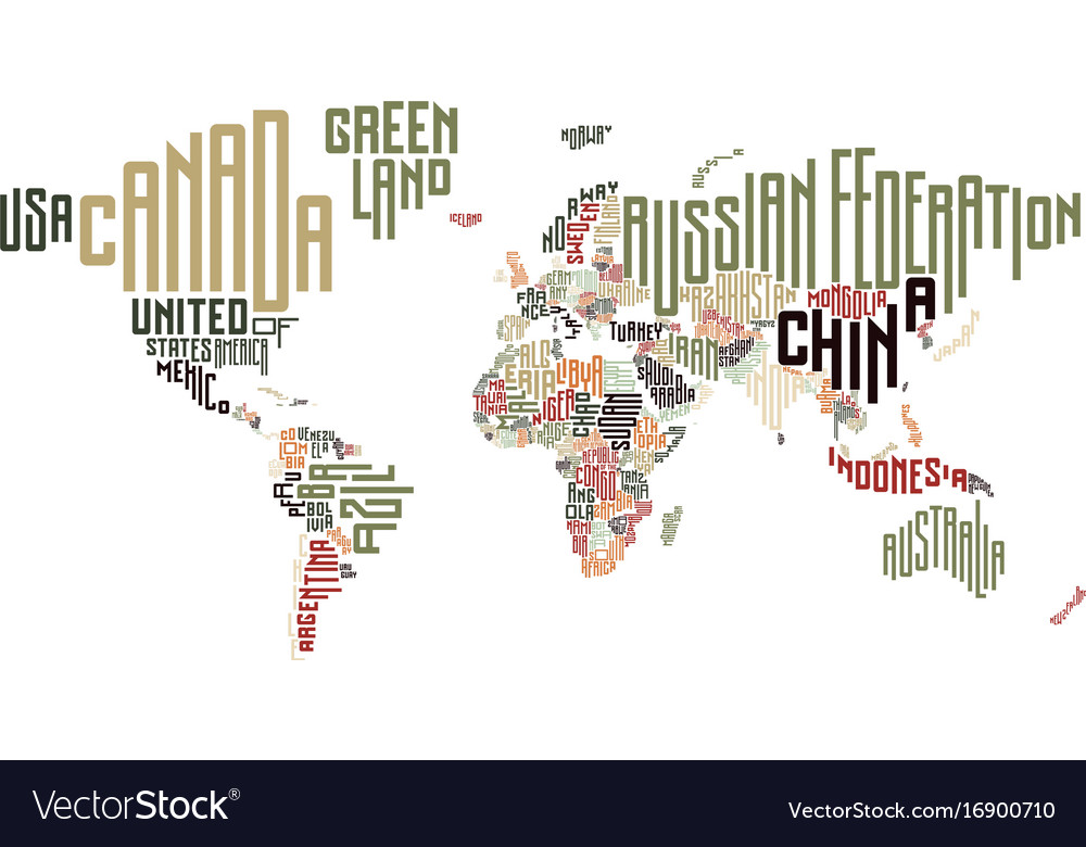 World map made of typographic country names vector image gumiabroncs Image collections