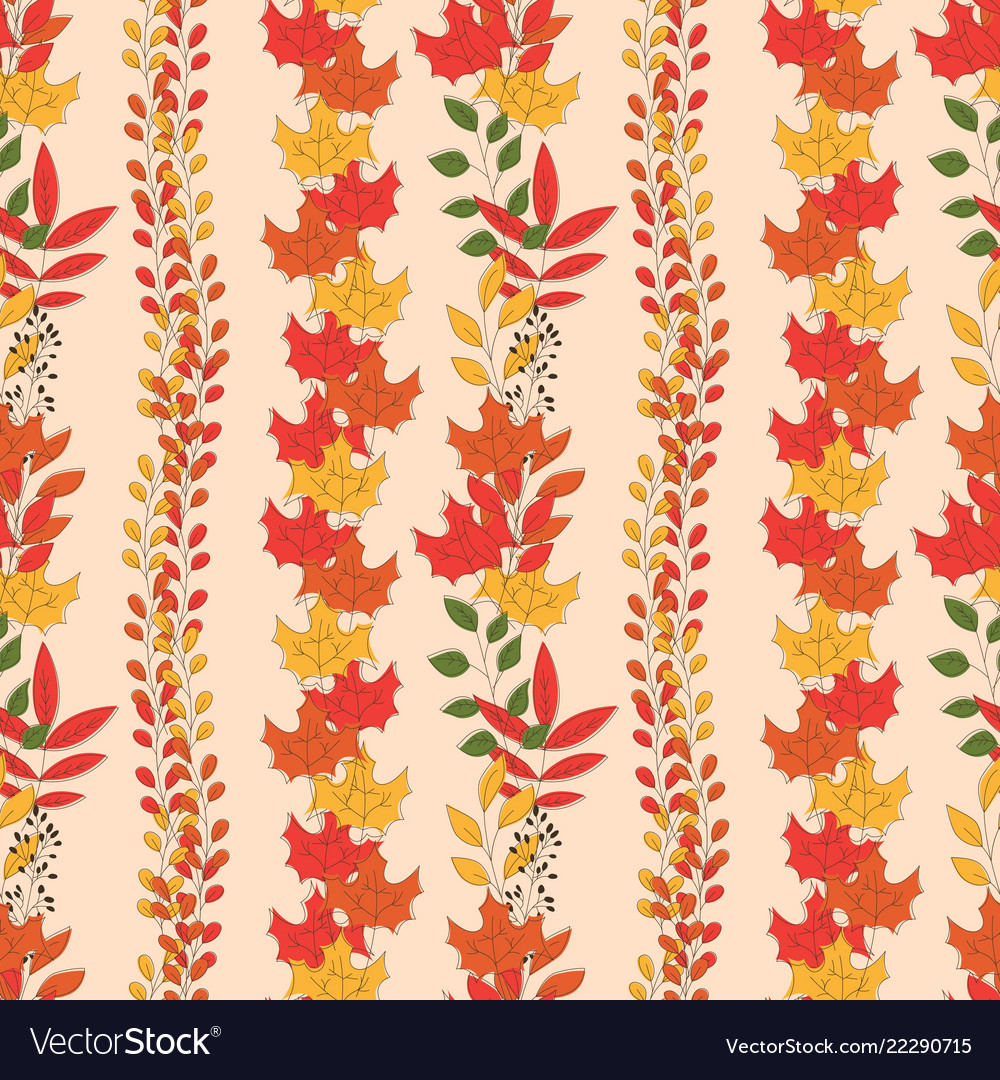 Autumn seamless pattern with floral decorative