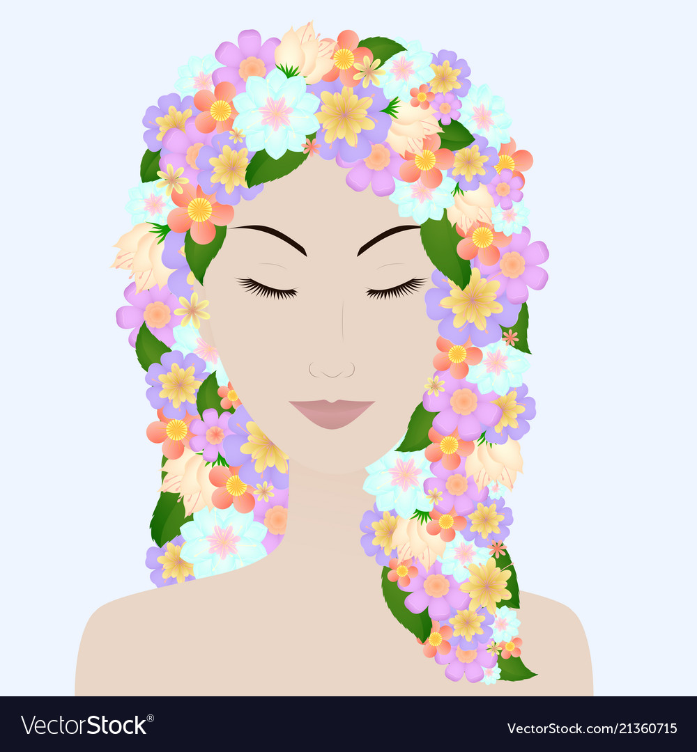 Beautiful girl with closed eyes and flower hair
