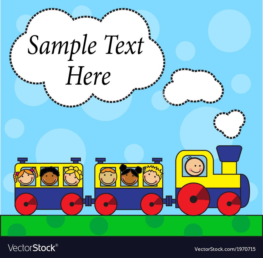 Cartoon locomotive and children traveling