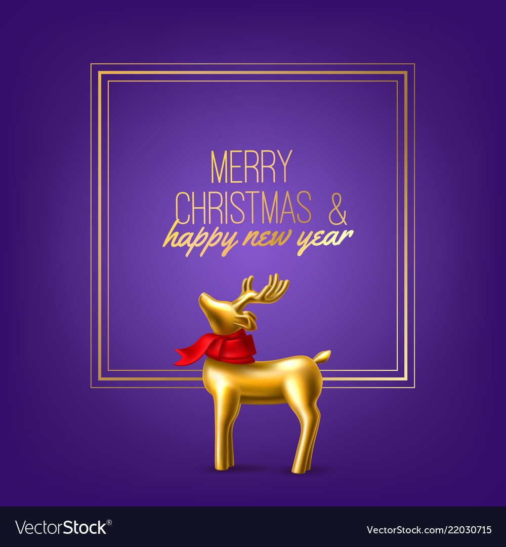 Christmas golden reindeer on purple frame