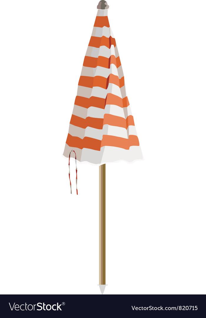Closed beach umbrella
