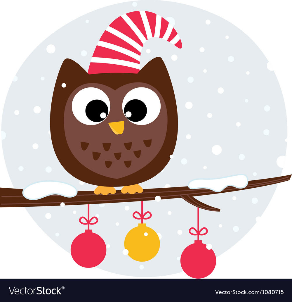 Cute christmas owl sitting on the branch vector image
