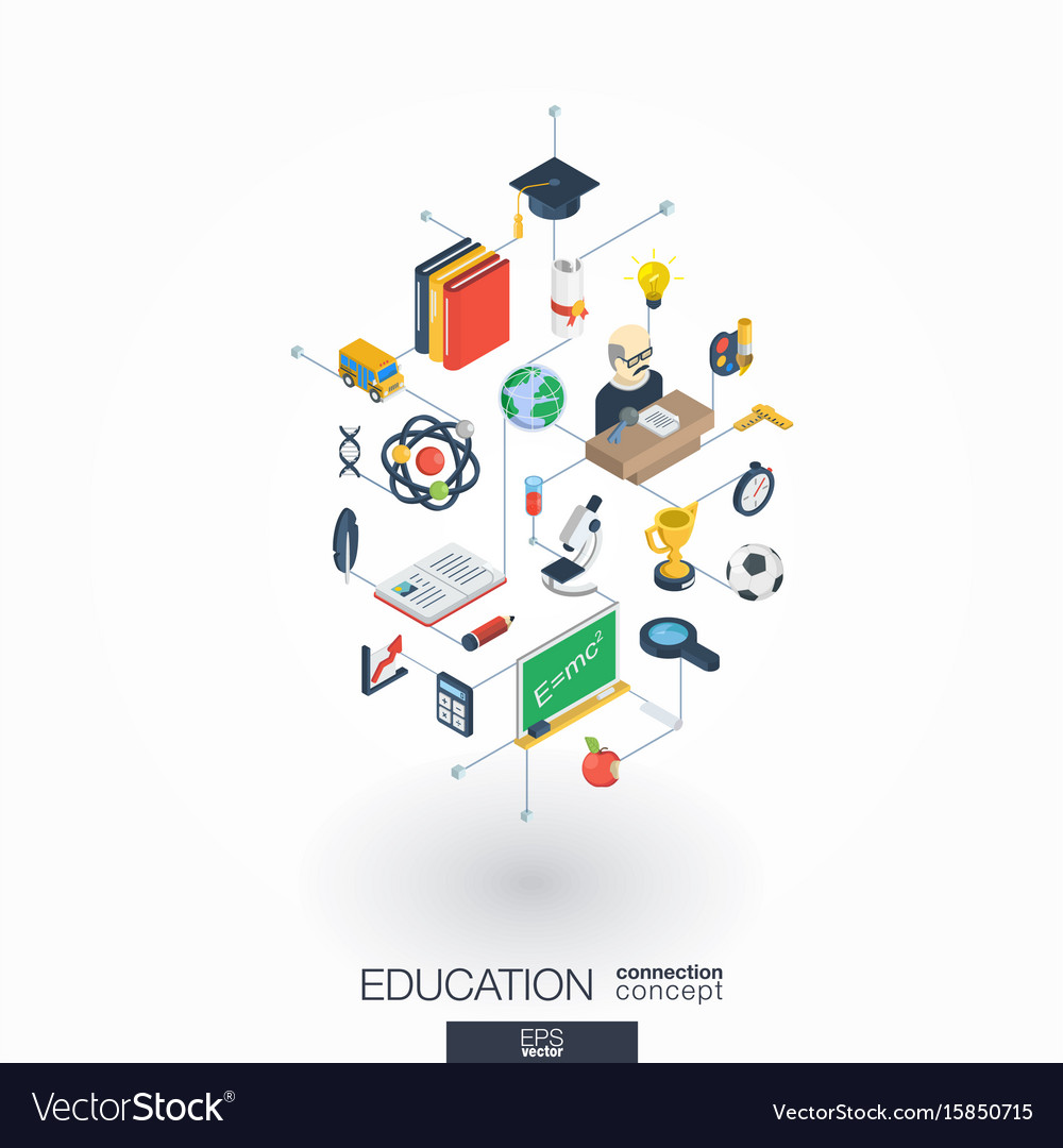 Education integrated 3d web icons digital network