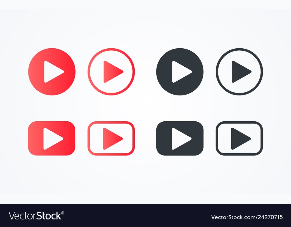 Flat line play button icon set collection