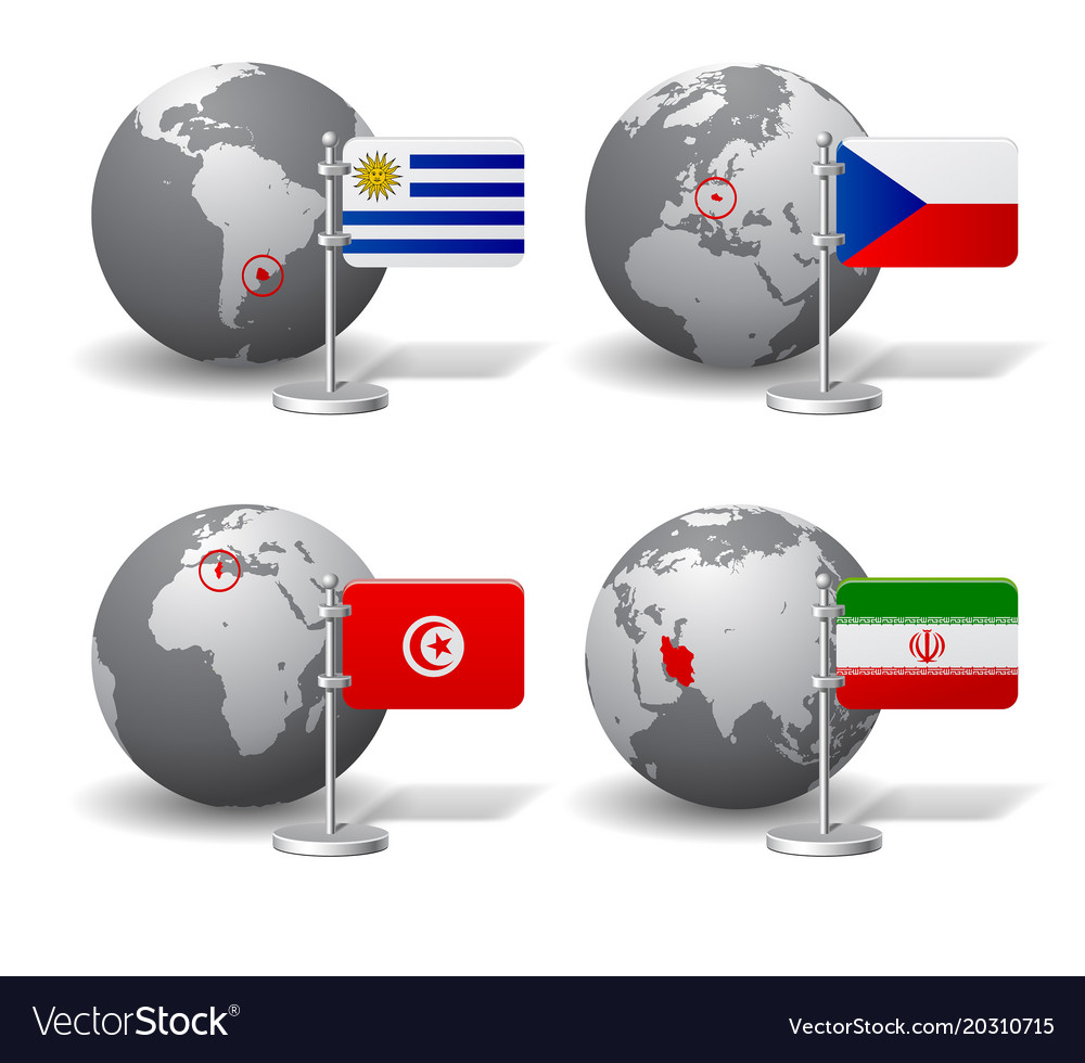 Gray earth globes with designation of uruguay