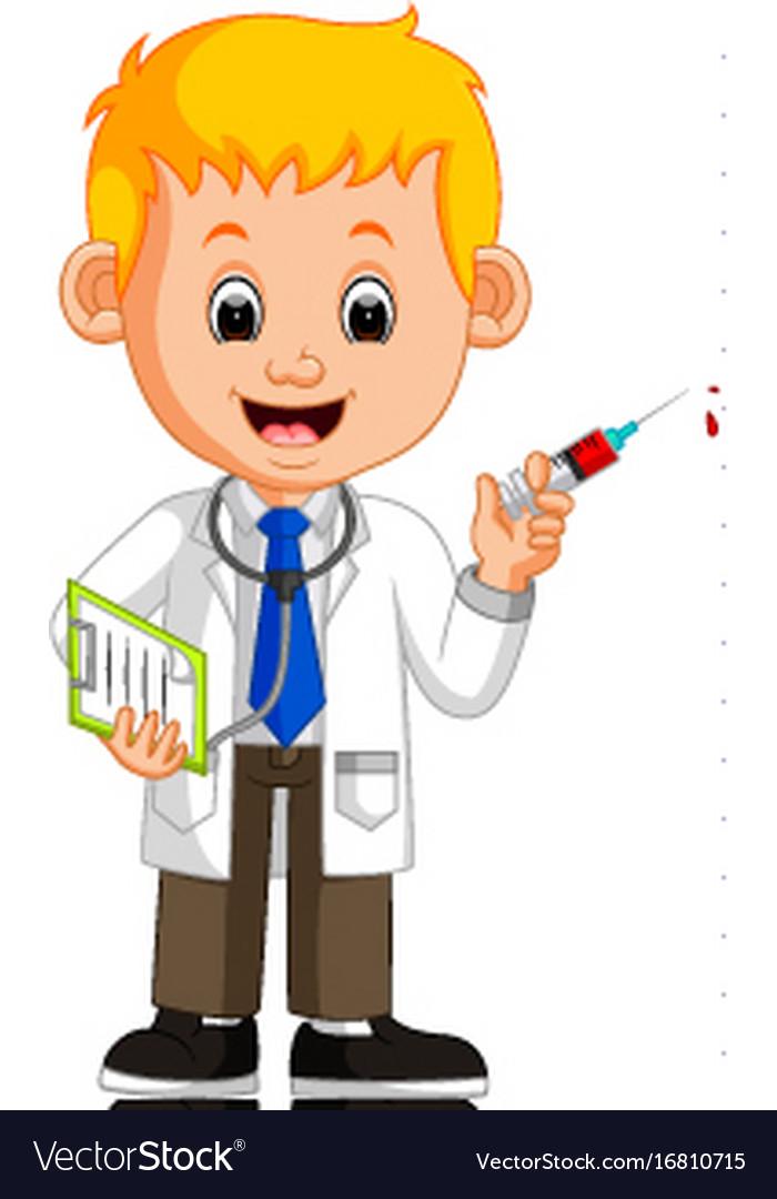 Happy doctor holding syringe