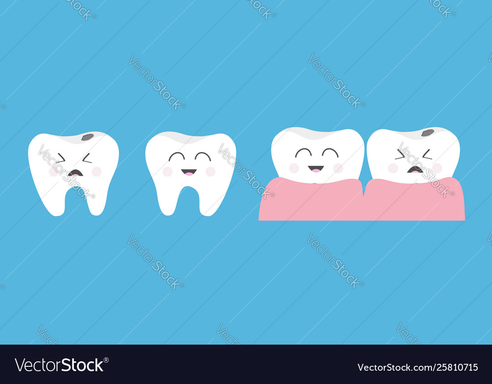 Healthy smiling tooth gum icon set line crying
