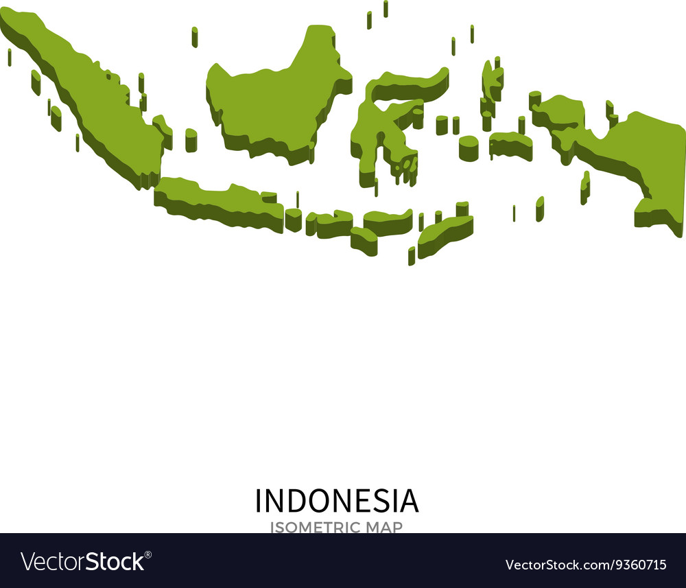 Isometric map of Indonesia detailed