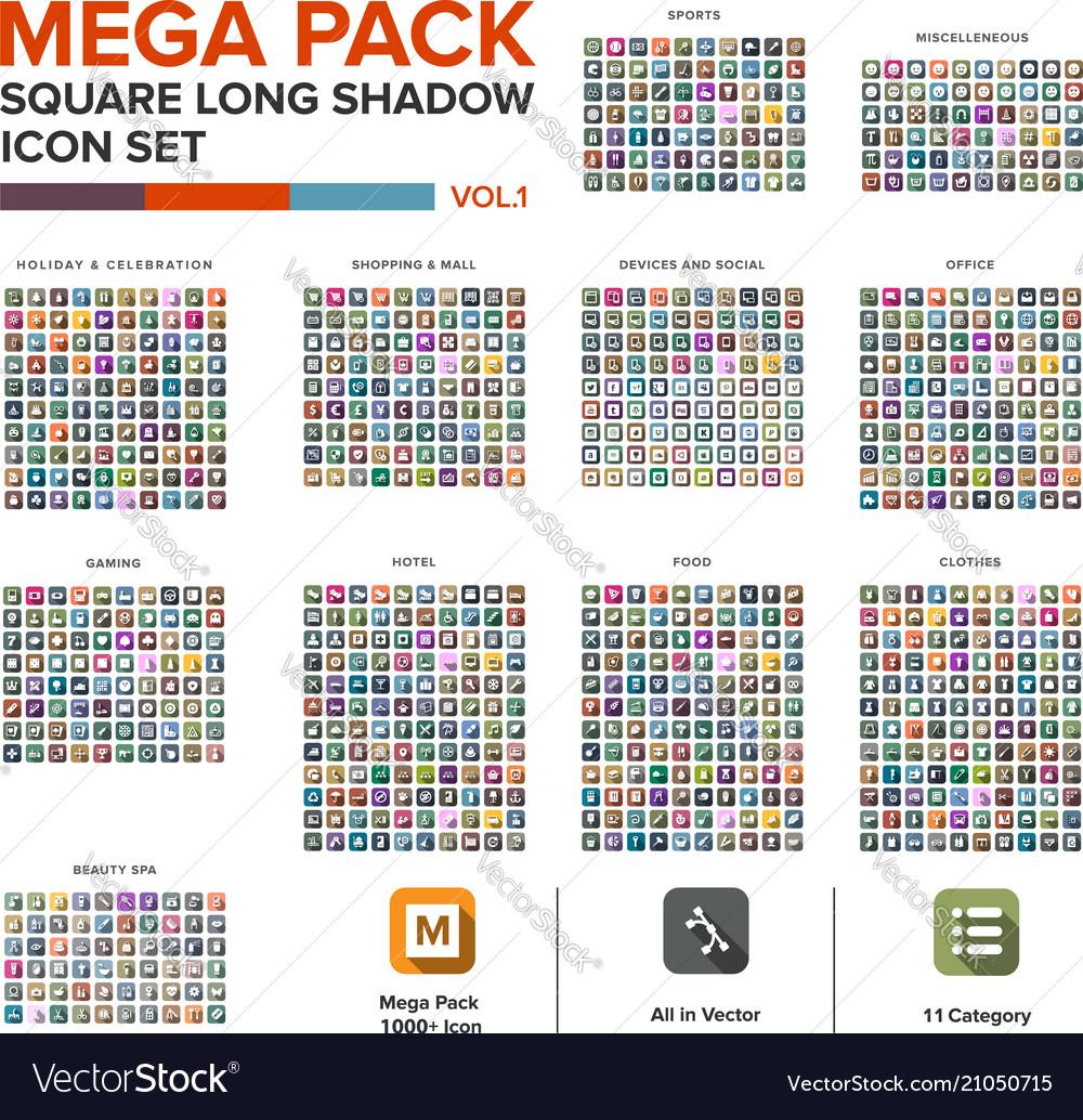 Mega pack square icon set bundle long shadow