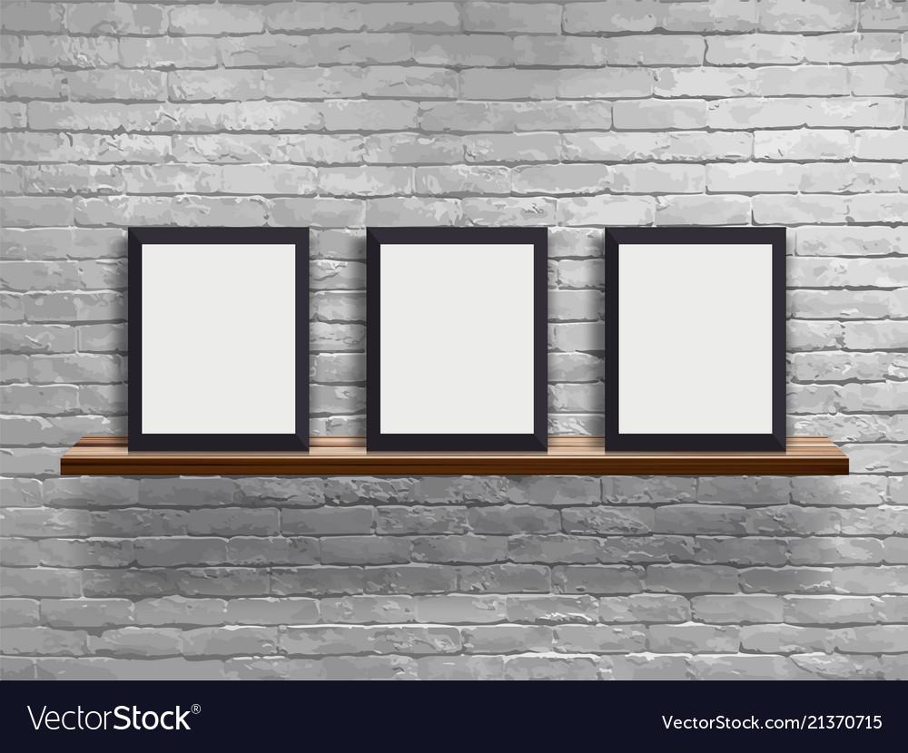 Mock up three blank frame on wood shelf