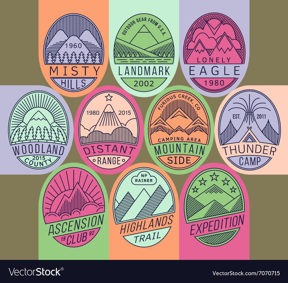 Mountain badges linear 2 mono