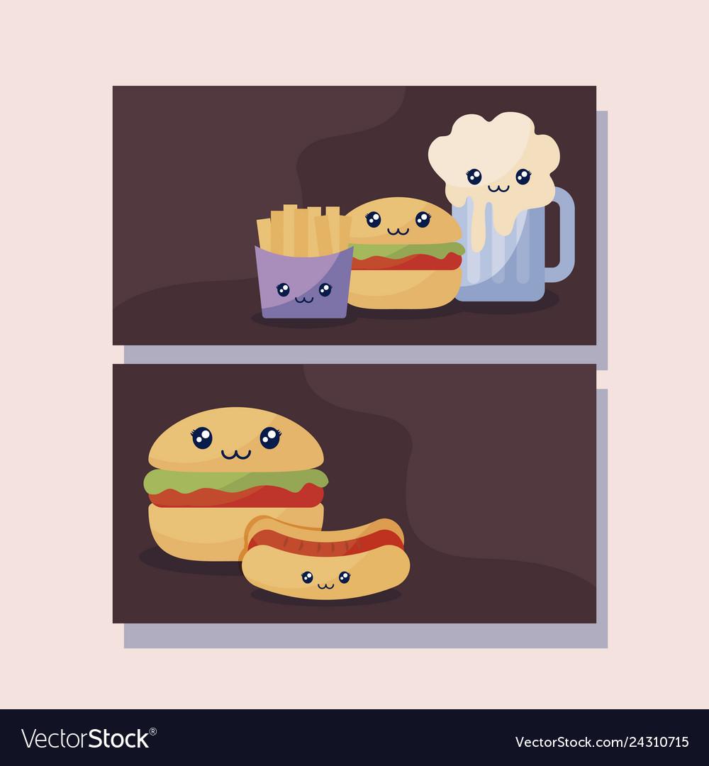 Set of delicious hamburger and fast food kawaii