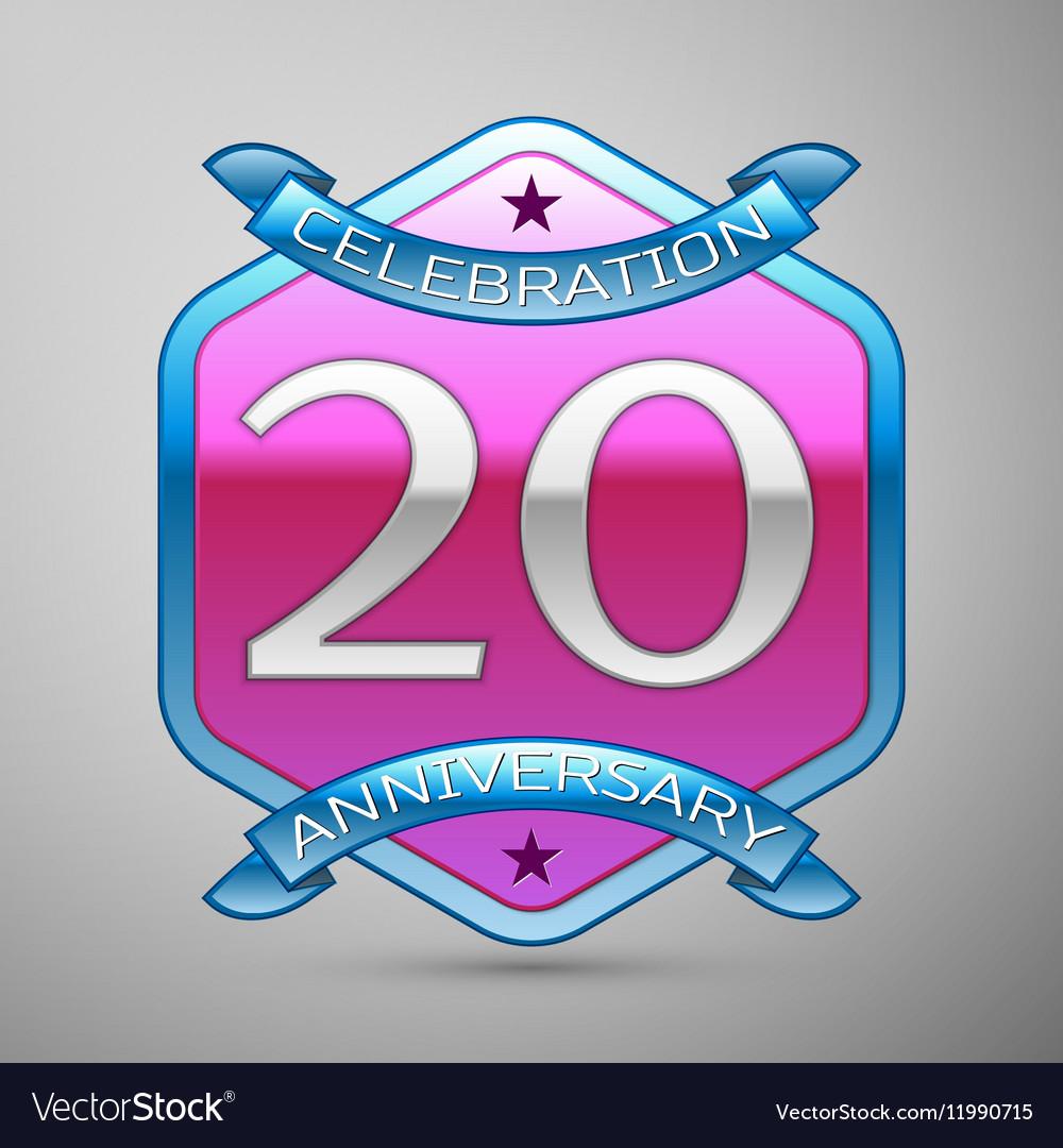 Twenty years anniversary celebration silver logo