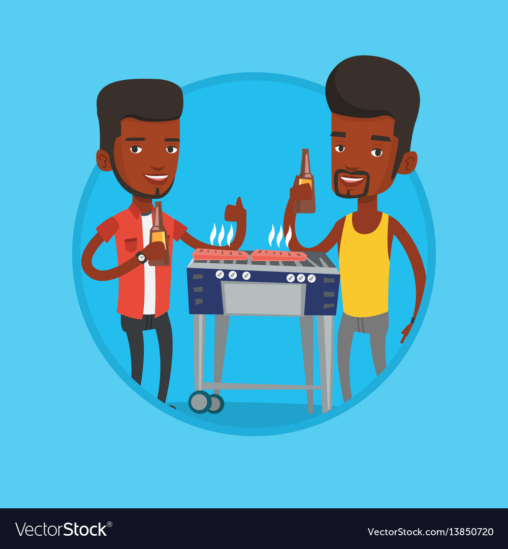 African friends having fun at barbecue party