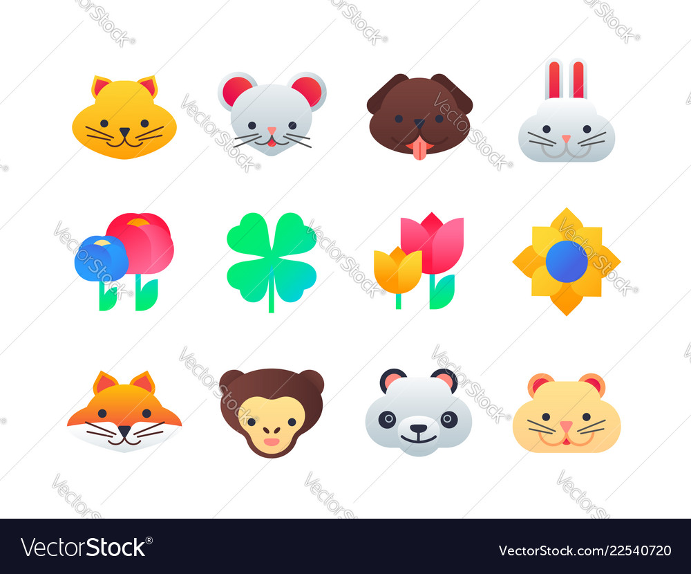 Animals and flowers - set of flat design style