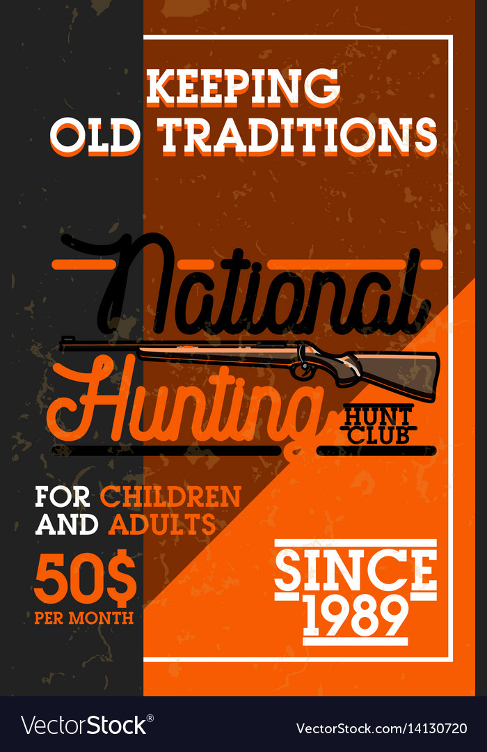 Color vintage hunting club banner