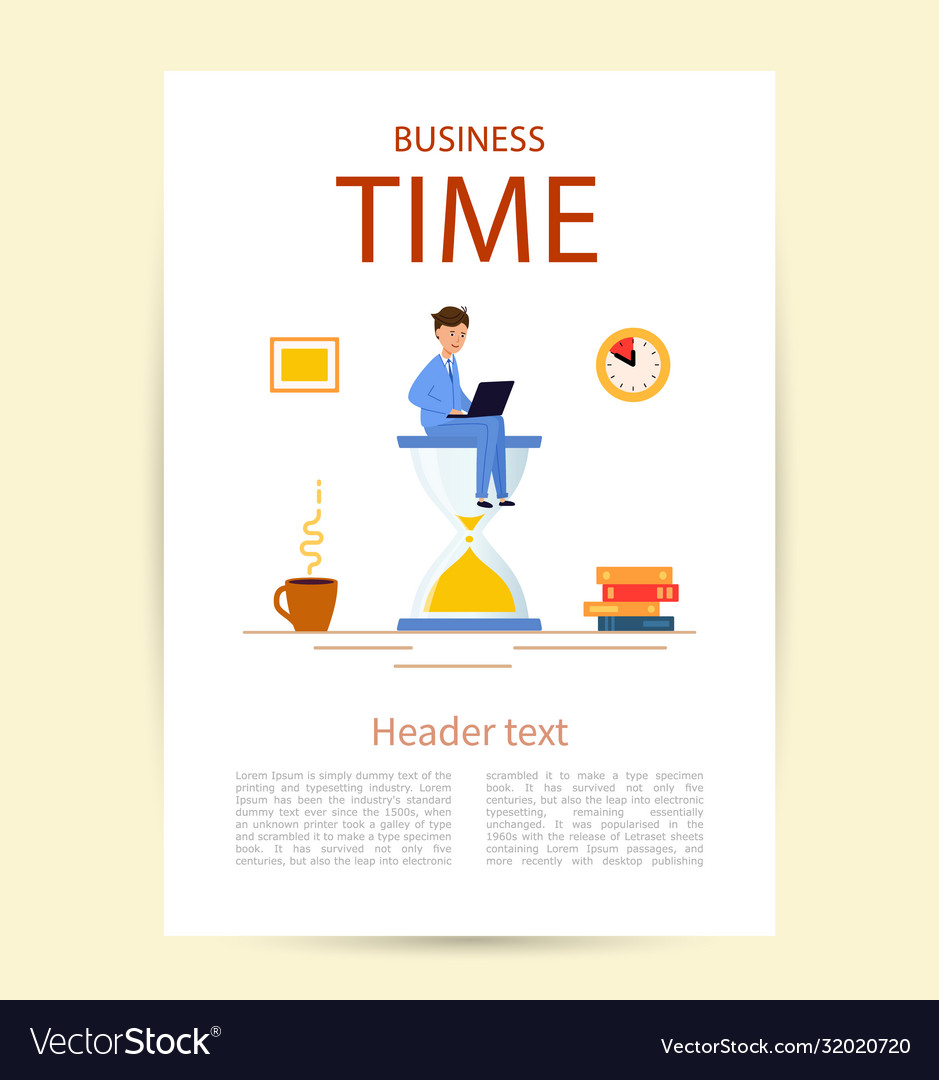 Flyer with title business time a young man in a