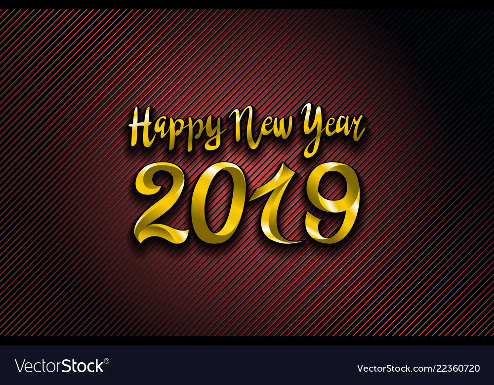 Gold 2019 happy new year red background for your