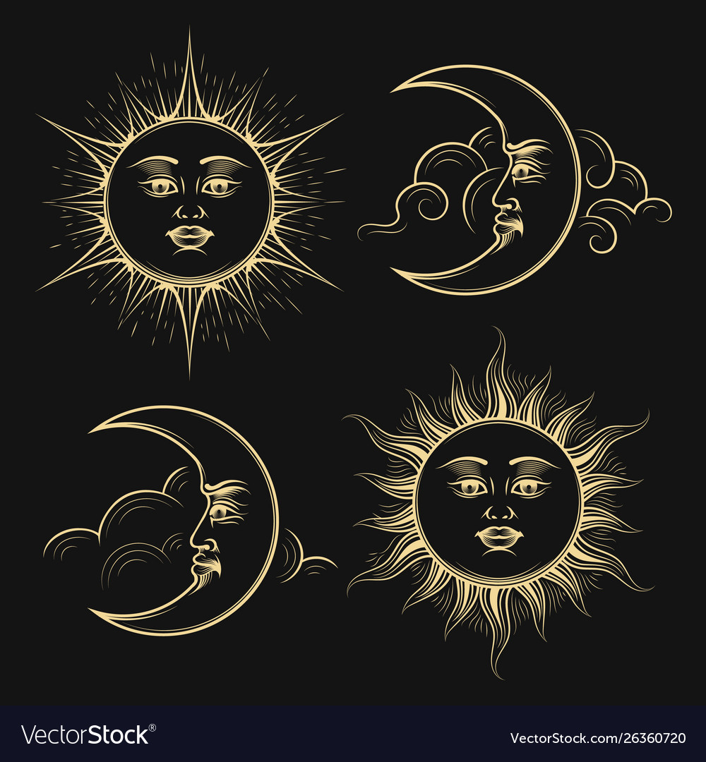 Hand drawn sun and crescent moon esoteric signs vector