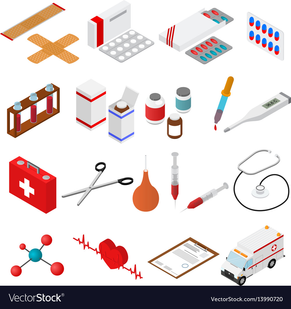 Medical color icons isometric view