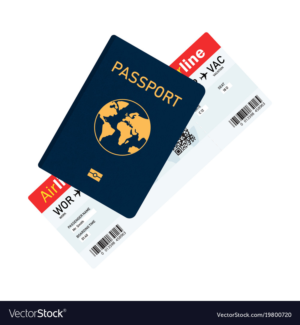 Passport with tickets passport and boarding pass