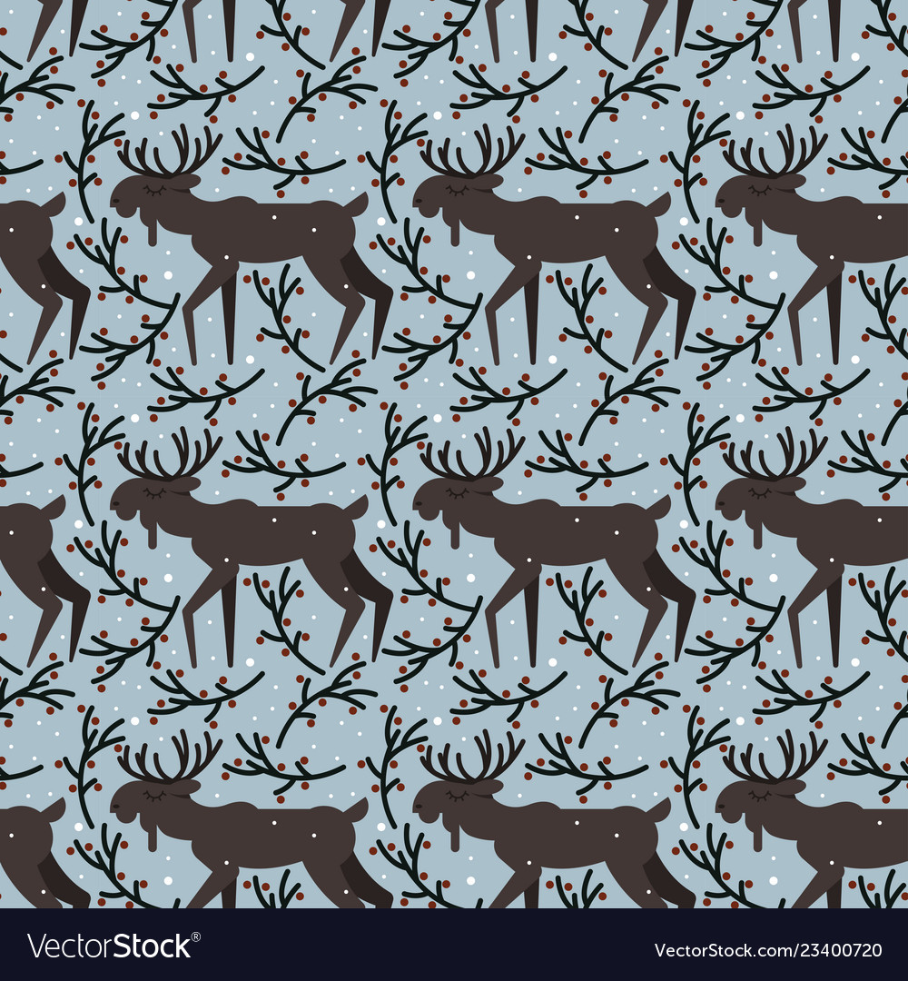 Seamless pattern with elk