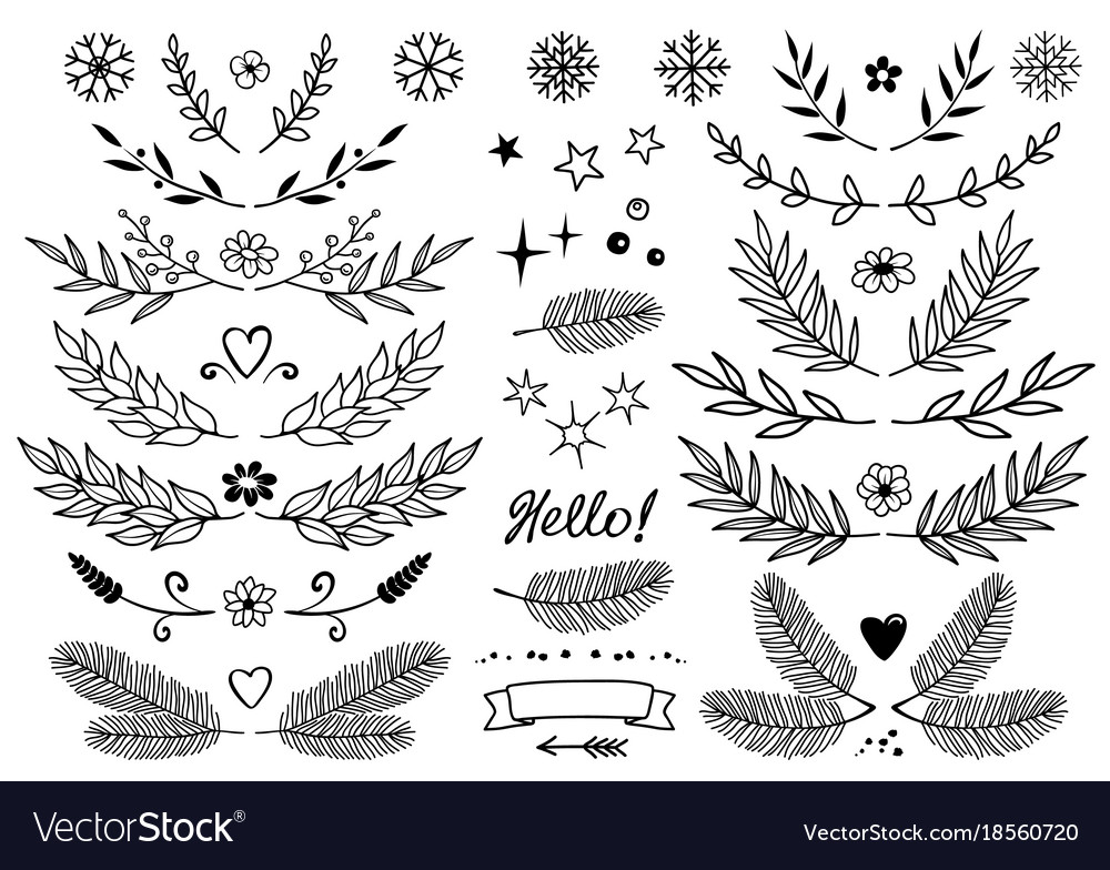 Set of branches snowflakes flowers design