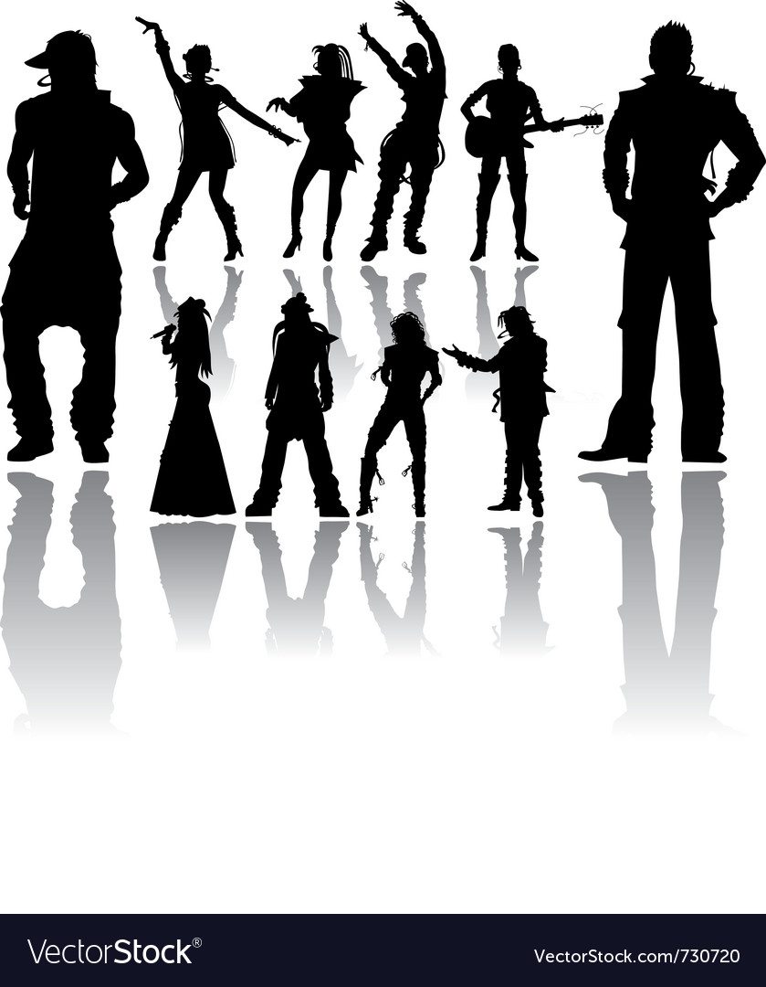 Silhouettes handmade dancing and singing