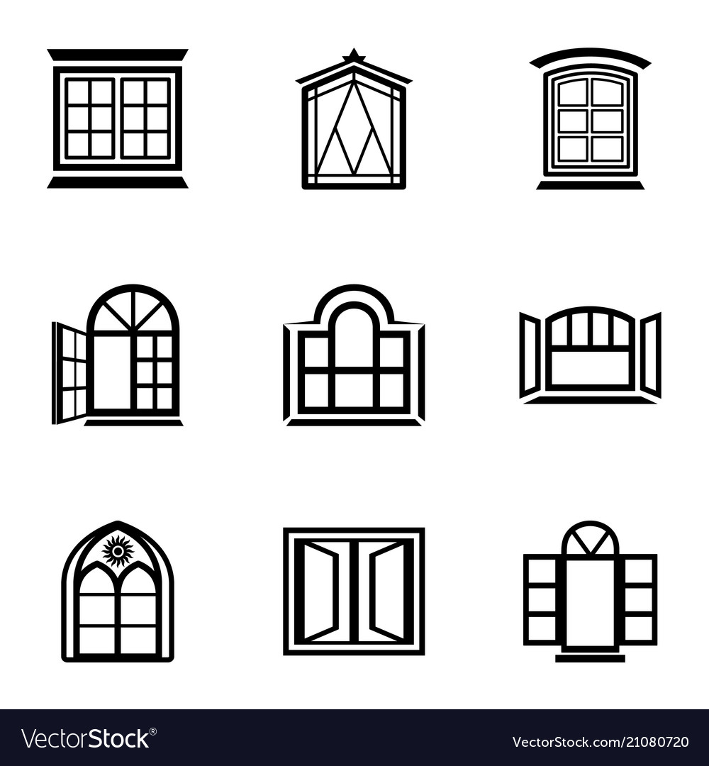 Stained glass icons set simple style