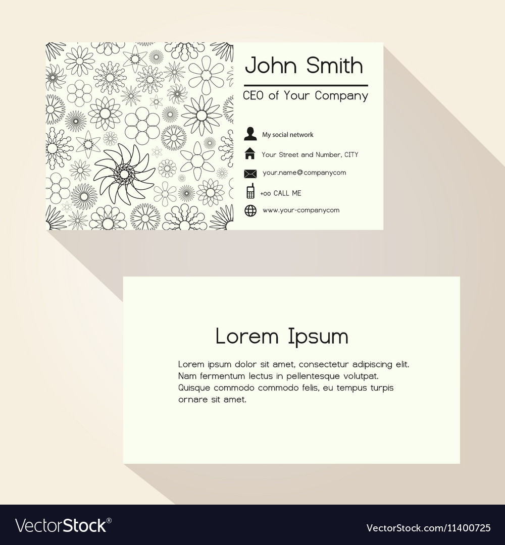 Abstract outline flowers business card design vector image colourmoves