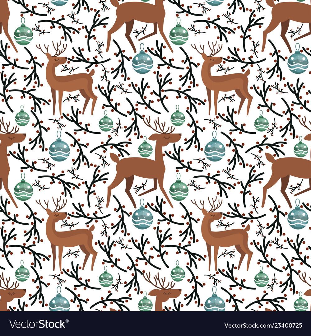 Cute flat deer on seamless pattern