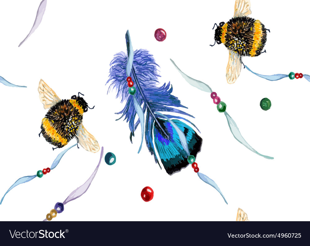Feather and bee pattern vector image