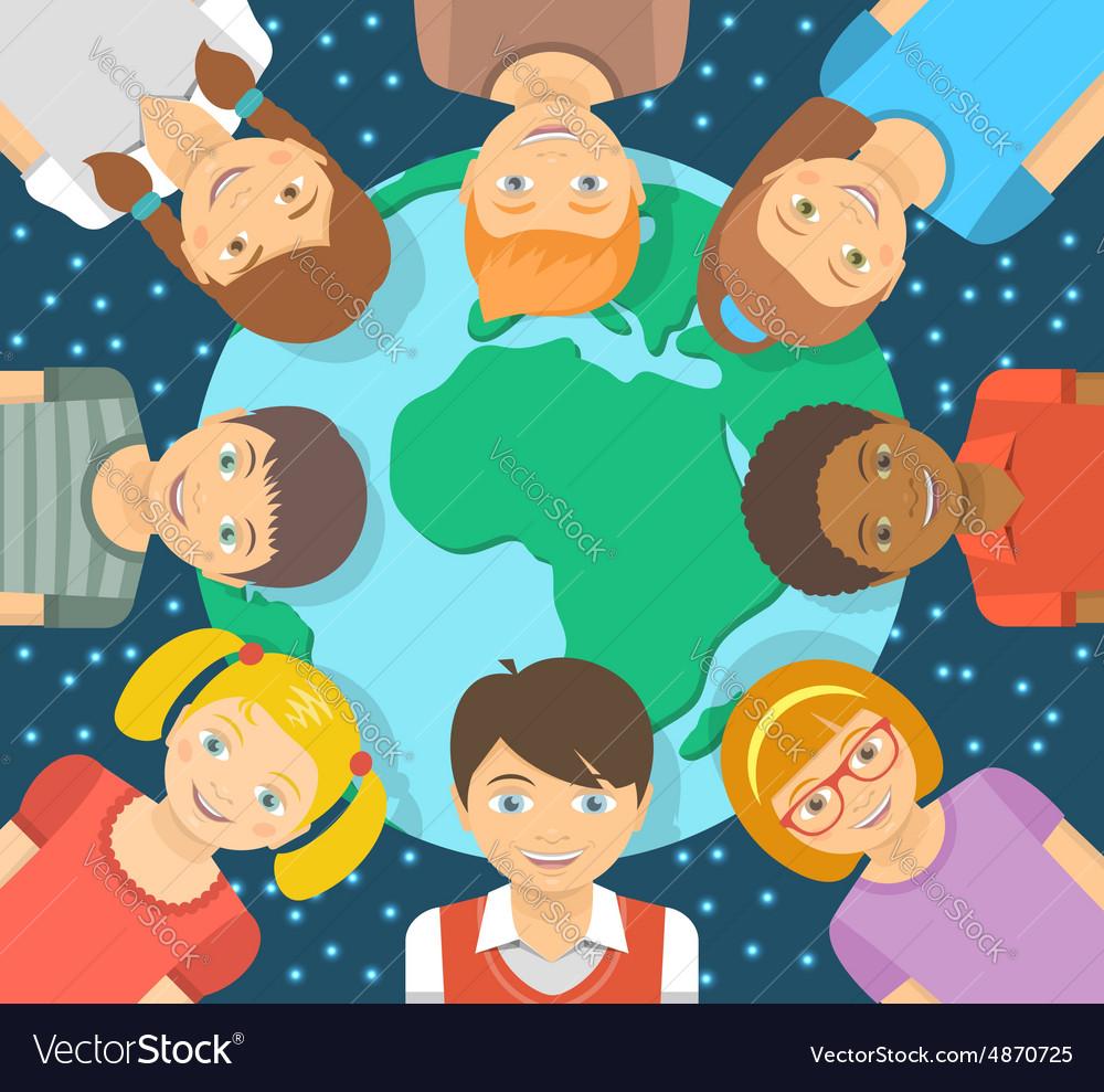 Flat different kids around earth